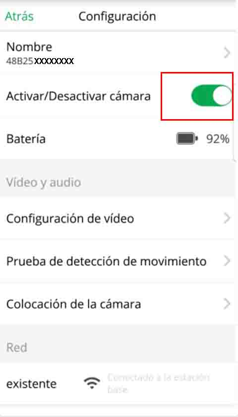 Imagen boton activar/desactivar camara