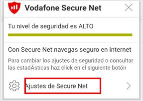 Imagen botón de Ajustes de Secure Net
