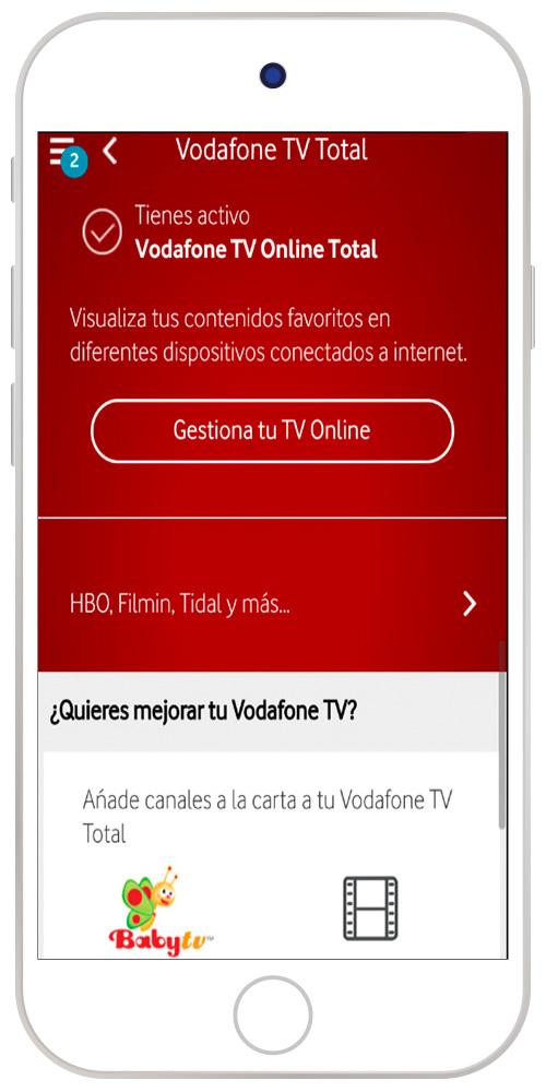 Imagen de HBO y Más seleccionado en App Mi Vodafone