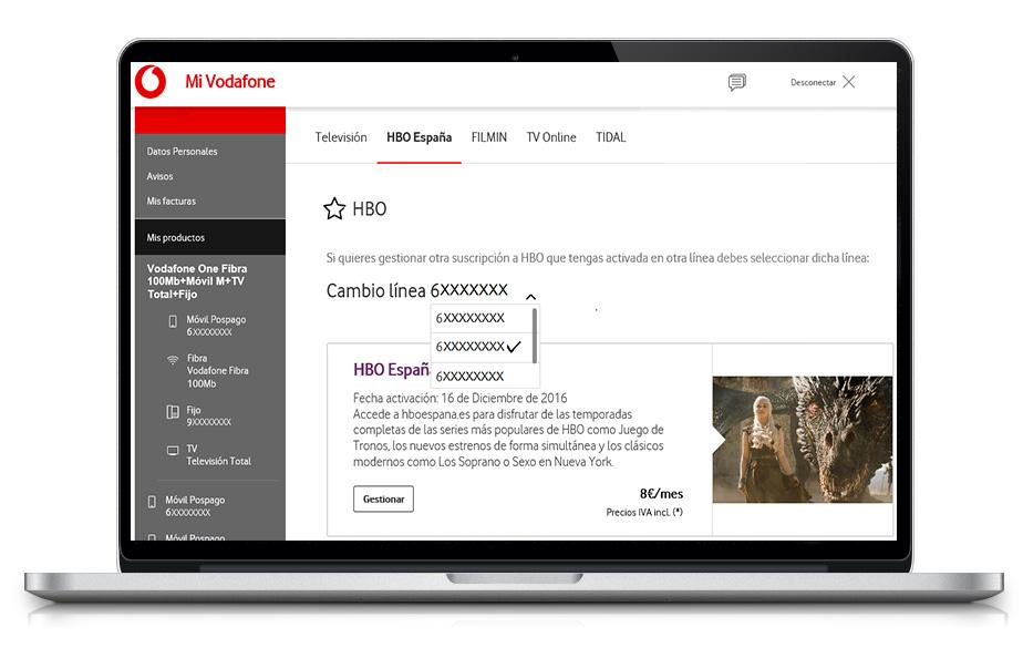 Imagen con opción HBO España y línea en la que se desea desactivar seleccionadas.