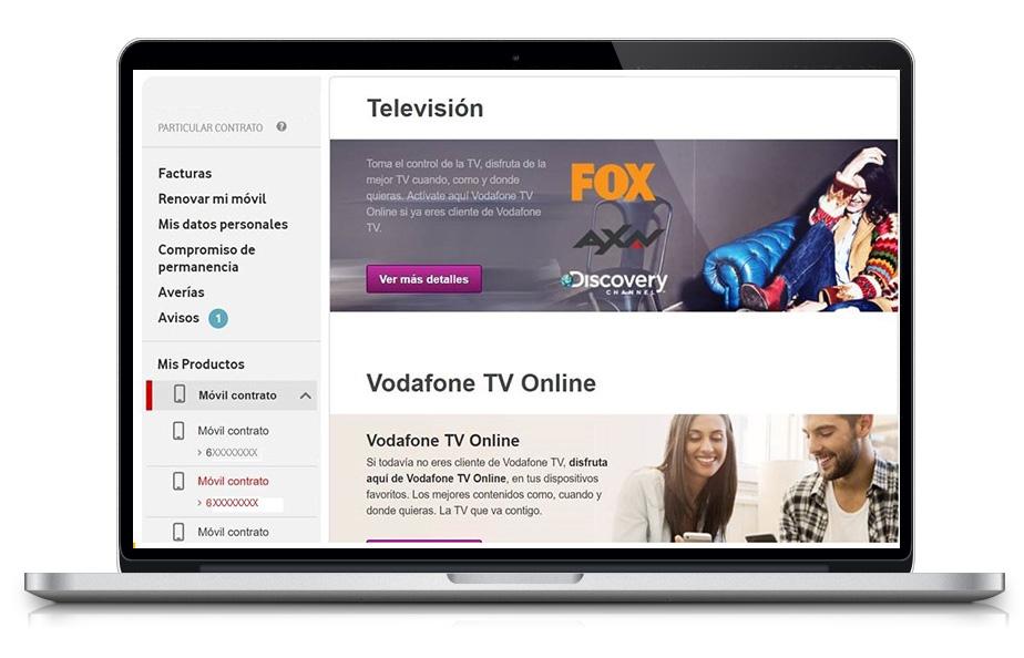 Imagen en Menú Principal de Mi Vodafone con Televisión seleccionada